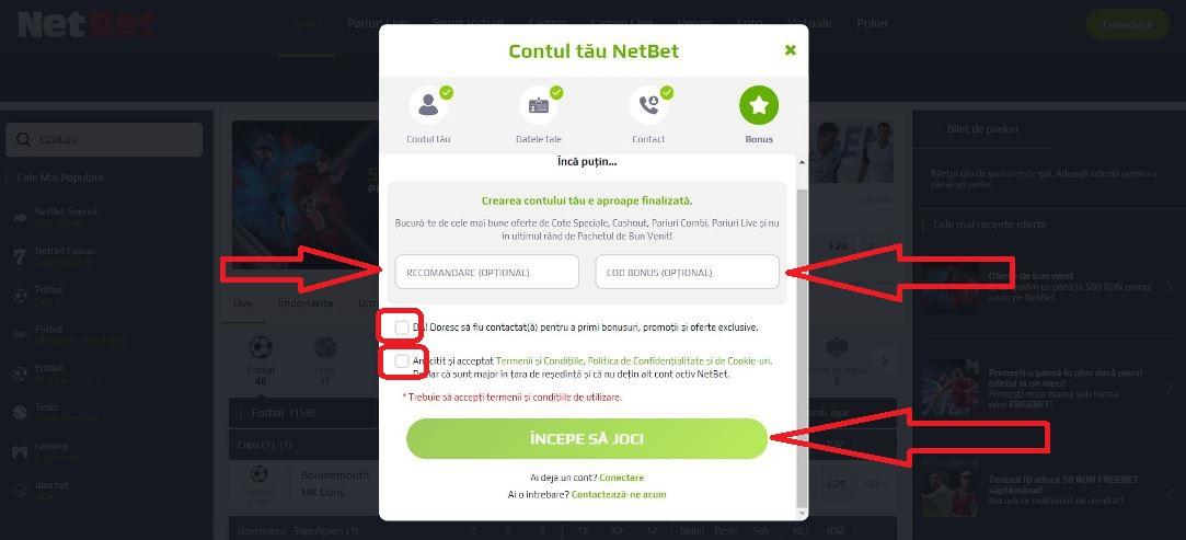 Contul tau la NetBet pariuri