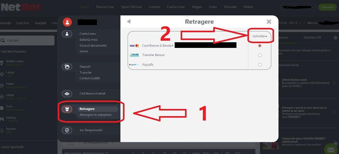 Cum faci o retragere la NetBet